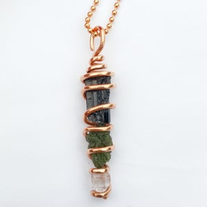 Image of Copper Wrapped Tourmaline/Herkimer Diamond/Moldavite  Trio