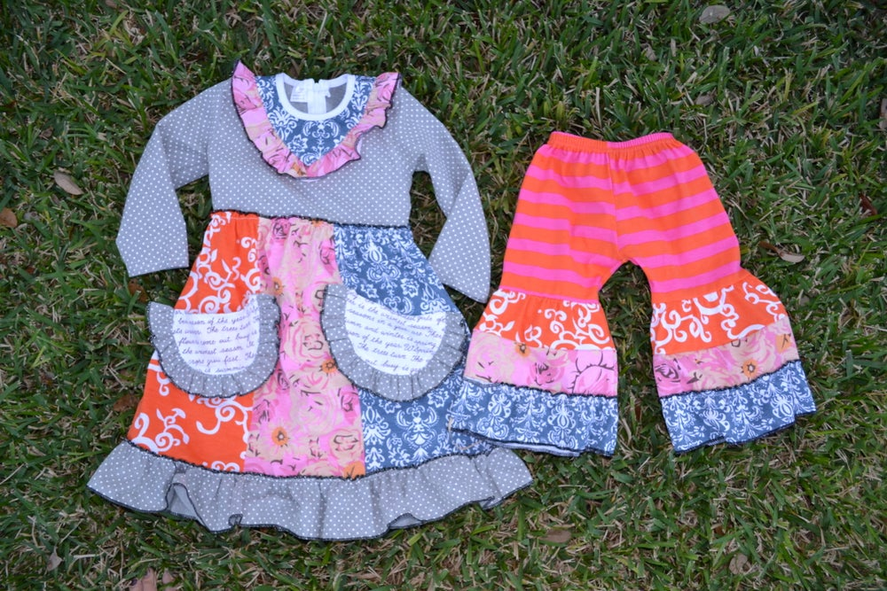 Image of Jessi Gorgeous Baby Outfit, Girl Boutique Pant Set, Bright Colors, Ruffle Bell Bottom Pants, Pockets