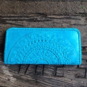 Image of Mandala Leather Clutch (Turquoise)