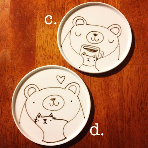 Image of illustrated round plates -- made to order