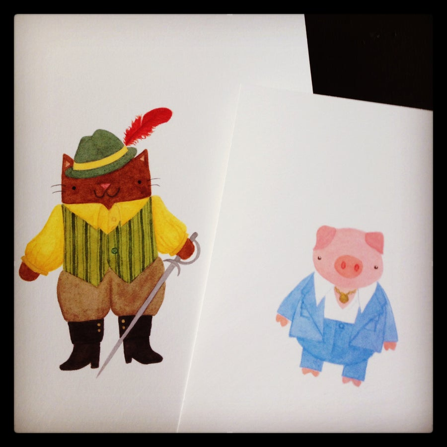 Image of disco pig // puss in boots postcards + prints