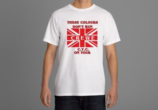 Image of These Colours Don't Run. Crewe CYC On Tour Casuals T-shirts. Ultras, Hooligans.