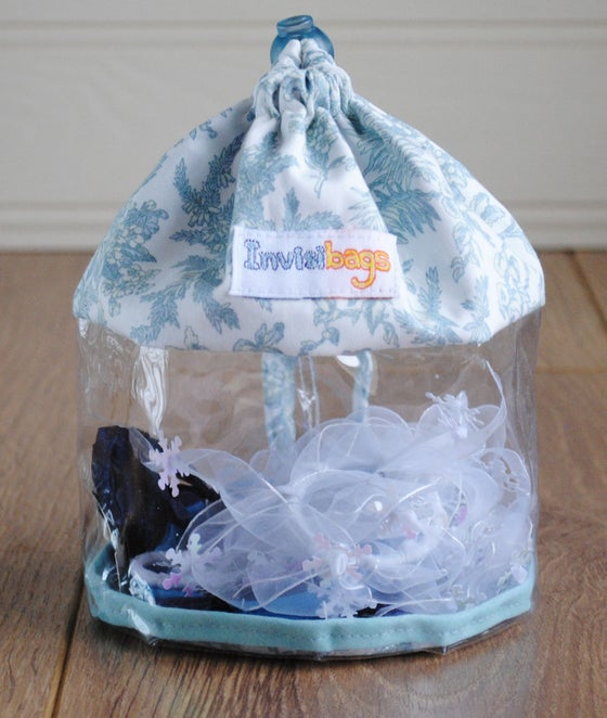 Image of French Blue Grey Toile Invisibag Toy Bag