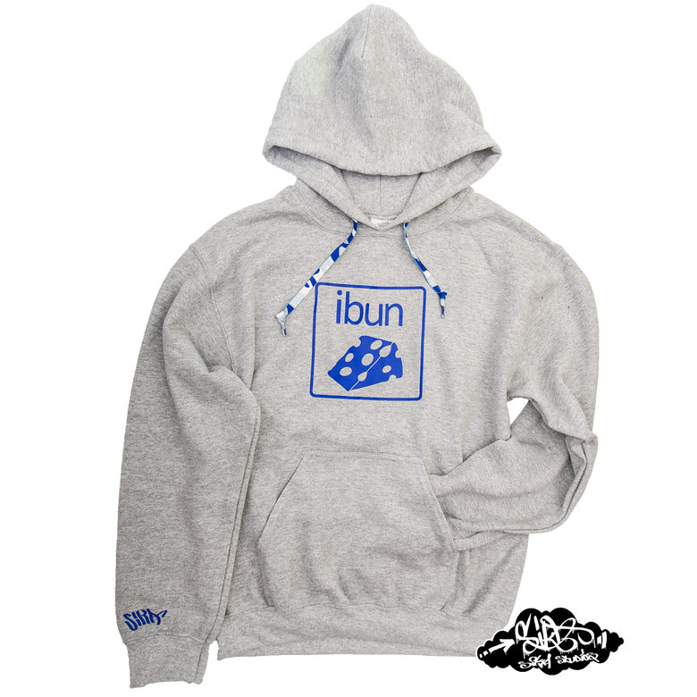 Image of ((SIKA x ibun)) blue cheese hooded sweater with matching camo draw string.