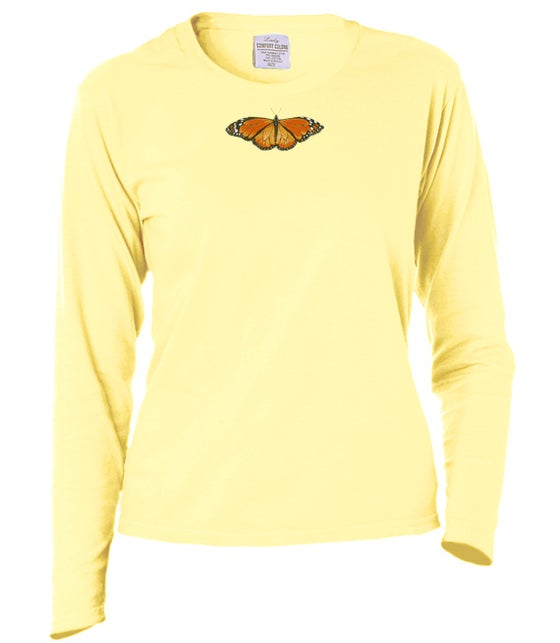 Image of Ladies Monarch Butterfly garment dyed longsleeve t-shirt