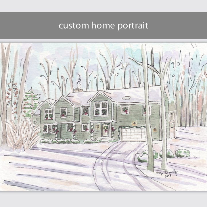 Image of custom home portrait: 5x7 or 8x10 watercolor and  ink