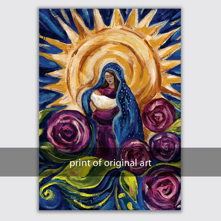 Image of madonna and child print on wood and paper