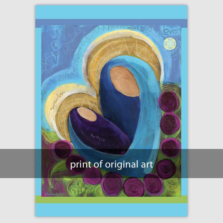 Image of madonna and child abstract print on wood and paper