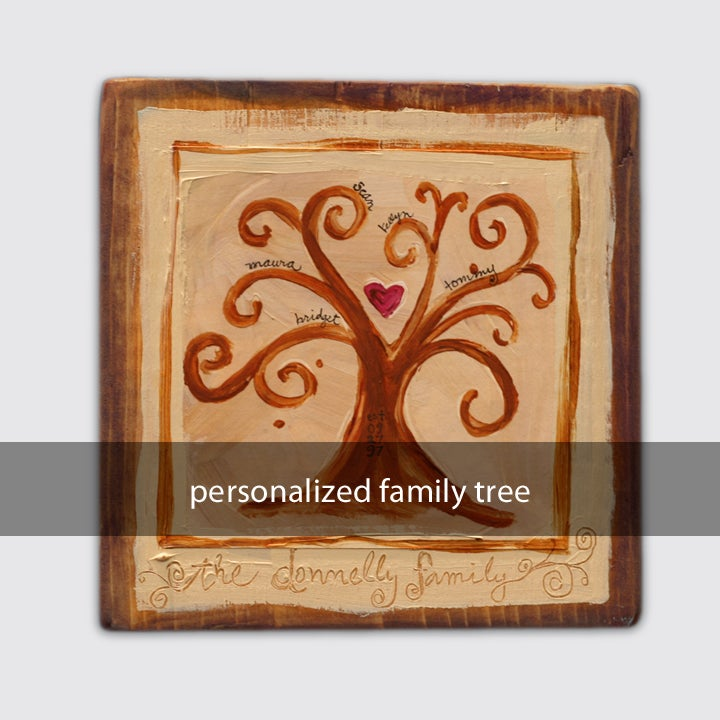 Image of personalized family tree: 5x5x1.5 on wood