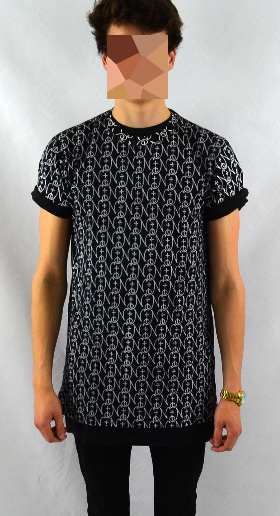 Image of Oversize Black Myriad Zipper Tee