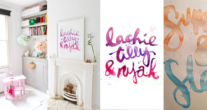 Image of Personalised Hand Lettered Art - Colour