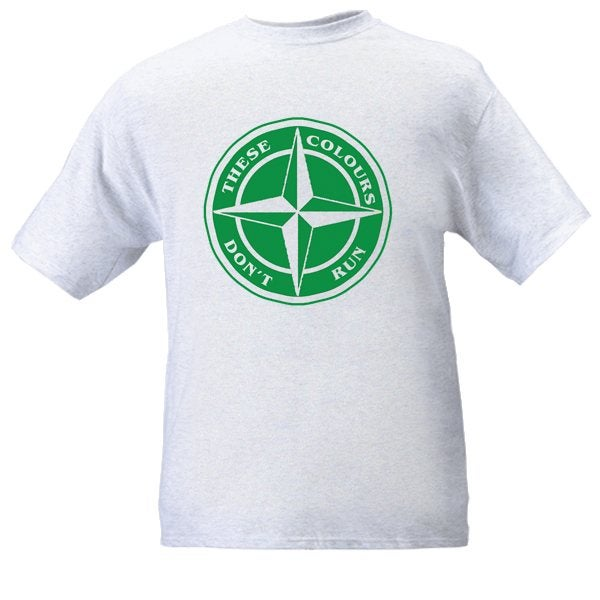 Hibs/Celtic These Colours Don't Run Green & White Star Design T-Shirt.