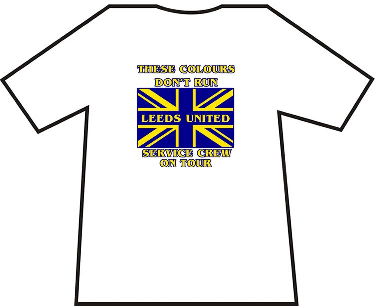 White Leeds United, Service Crew On Tour T-Shirts. Various Sizes.