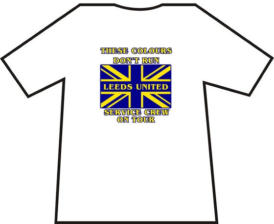 Image of White Leeds United, Service Crew On Tour T-Shirts. Various Sizes.