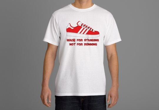 Image of Red & White Made for Standing not Running T-shirts.