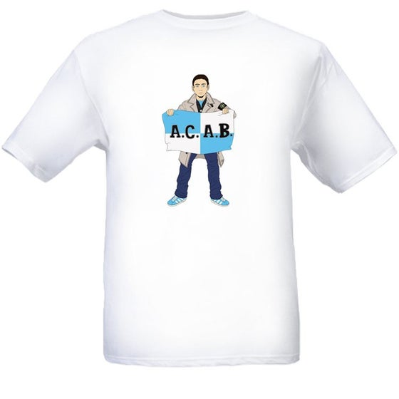 Image of Man City Casual Guy with ACAB Flag. T-shirt.