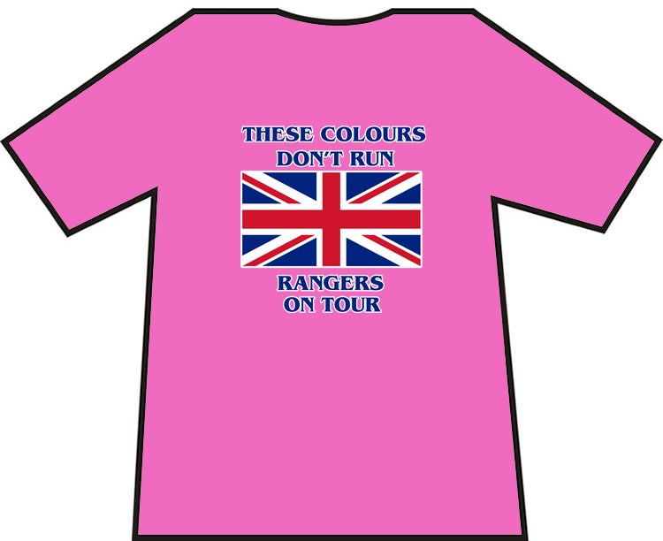 Image of These Colours Don't Run Rangers On Tour T-shirts.