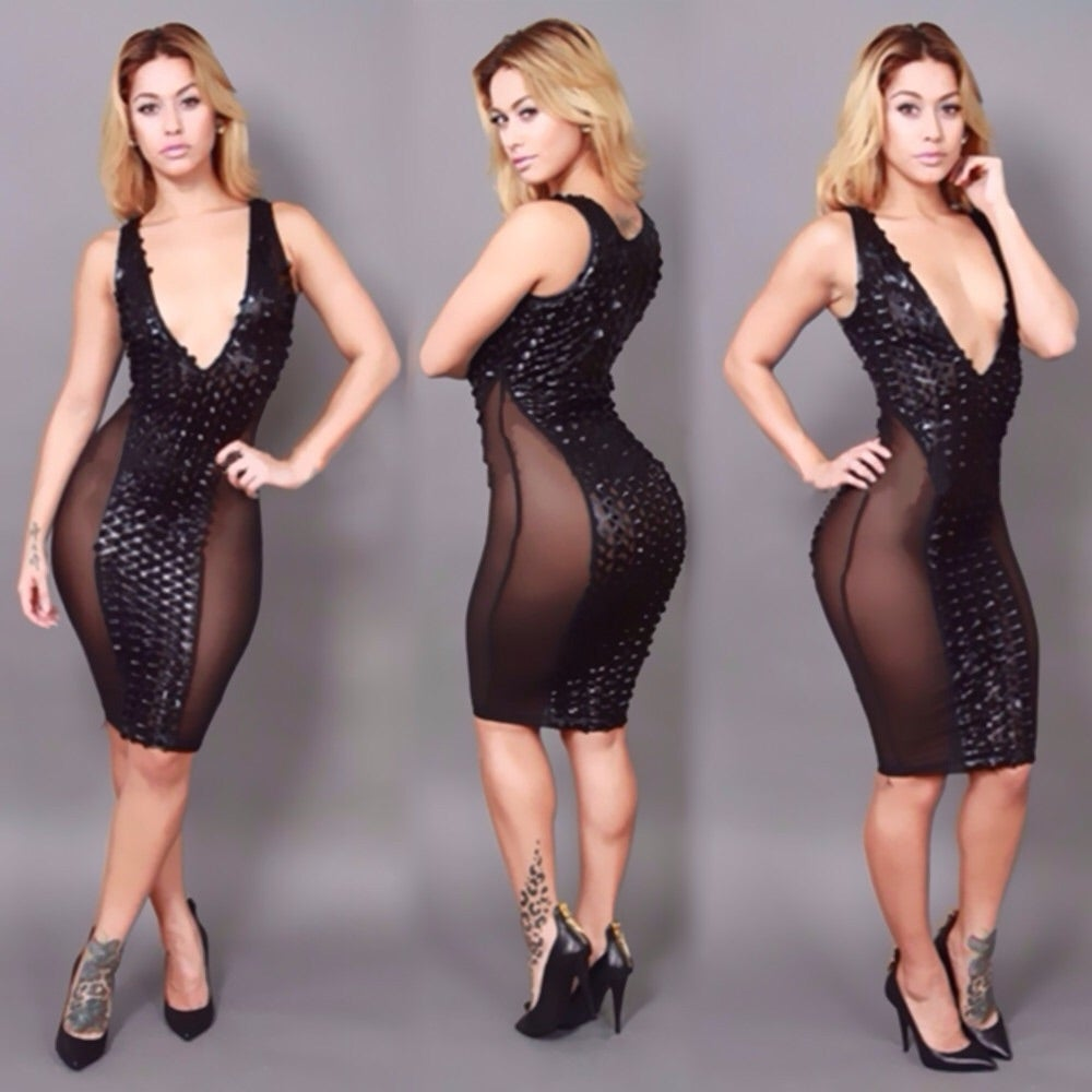 Image of Black sequence low plunge pencil dress