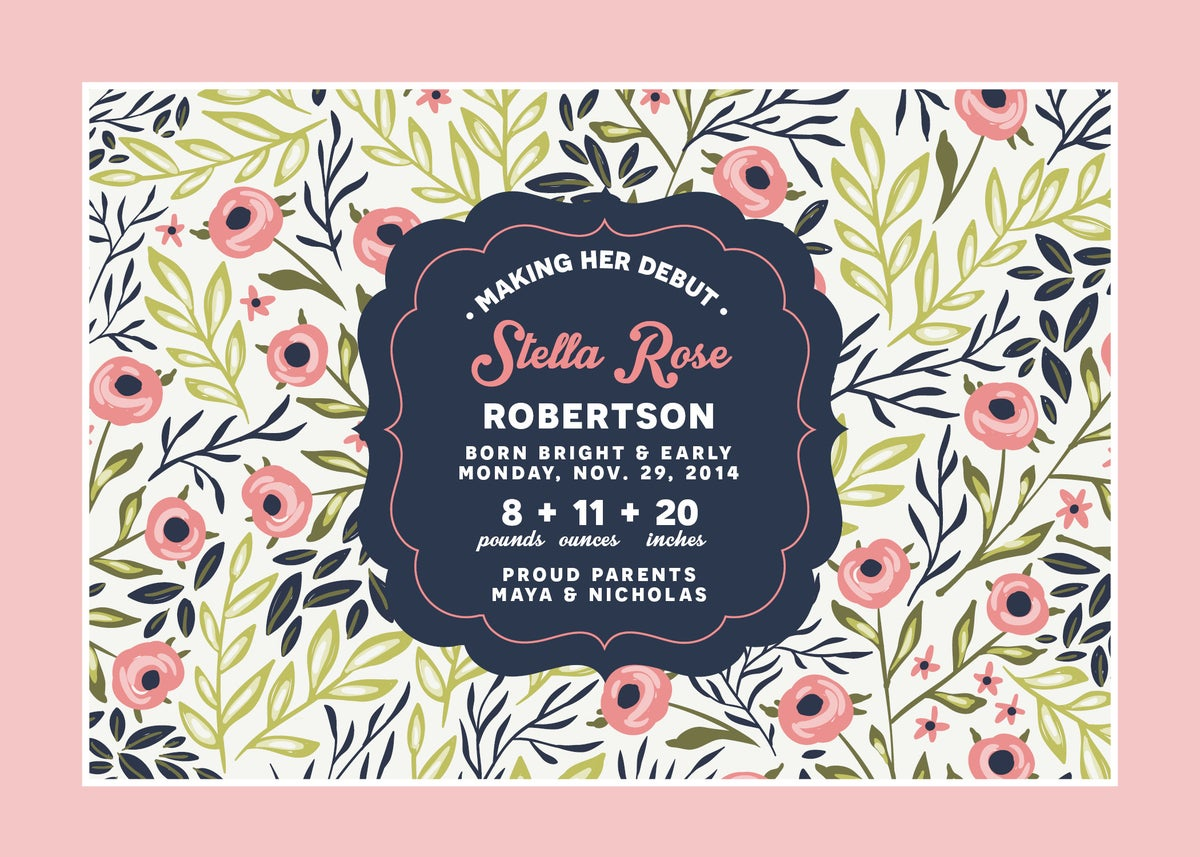 Navy and Pink Floral Baby Announcement