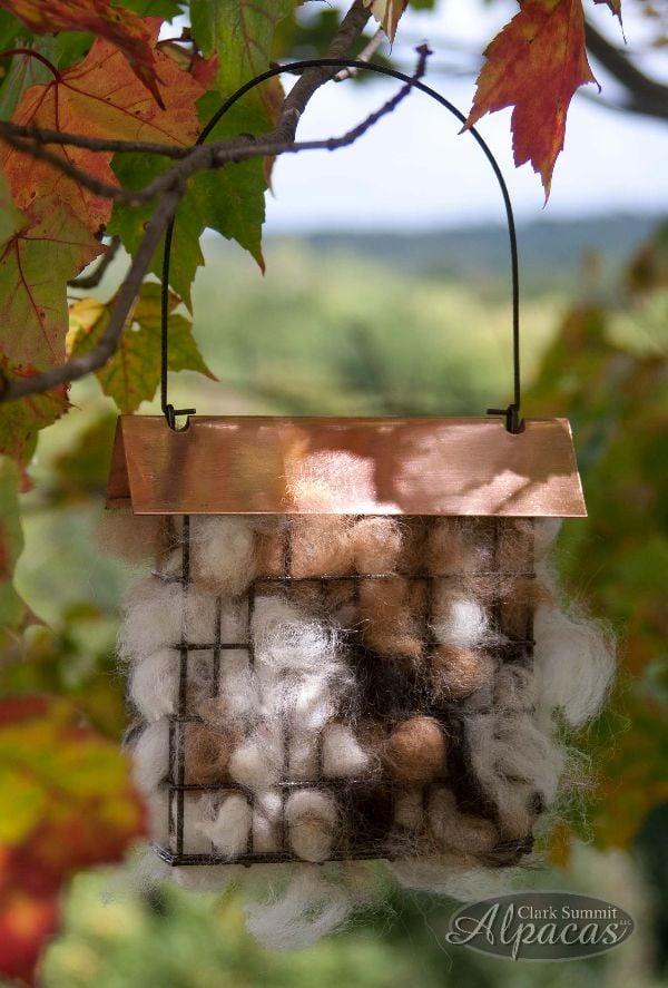 Image of Bird Nesting Materials Alpaca Fiber - Pre Filled Suet Cage