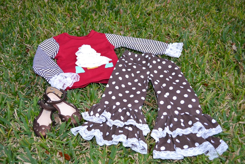 Image of Classic Christmas: White Christmas Tree Top & Brown Polka Dot Ruffle Pant Outfit