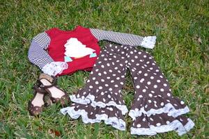 Image of Classic Christmas: White Christmas Tree Top & Brown Polka Dot Ruffle Pant Outfit