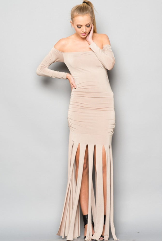 Image of Nude Ruched Dress