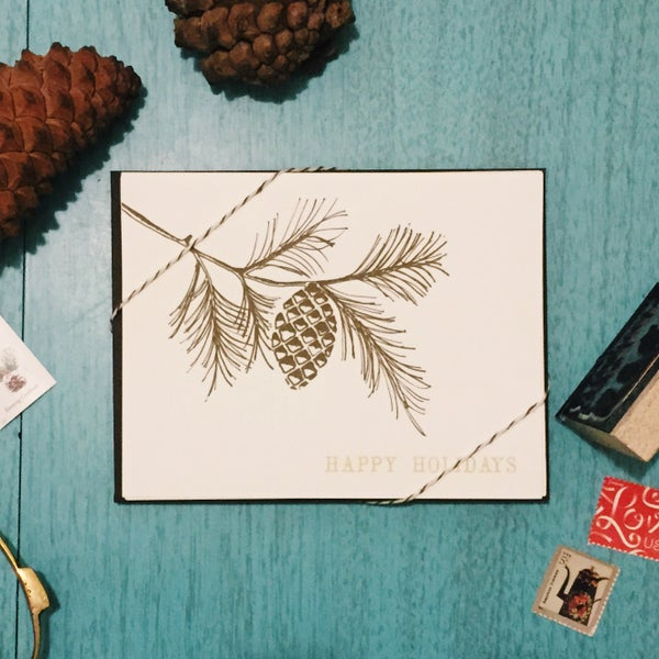 Image of Pinecone holiday card set