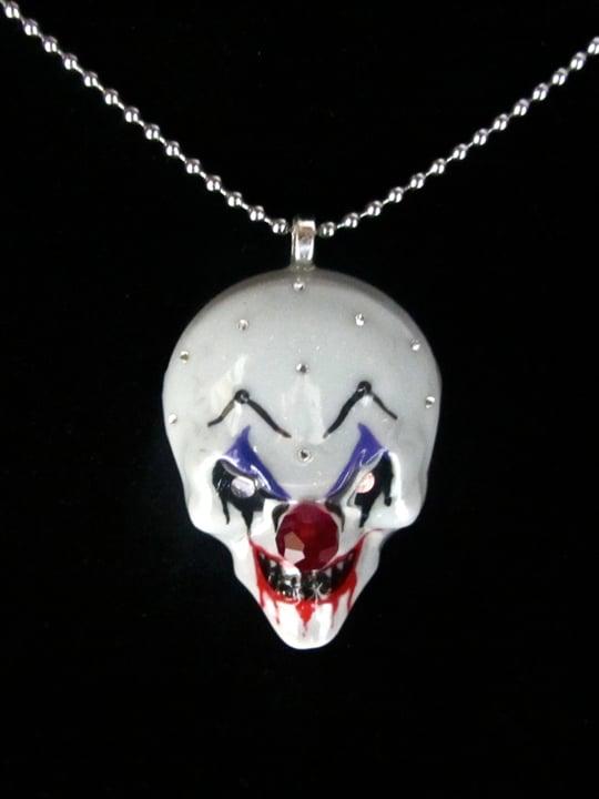 Image of Grey Evil Clown Pendant