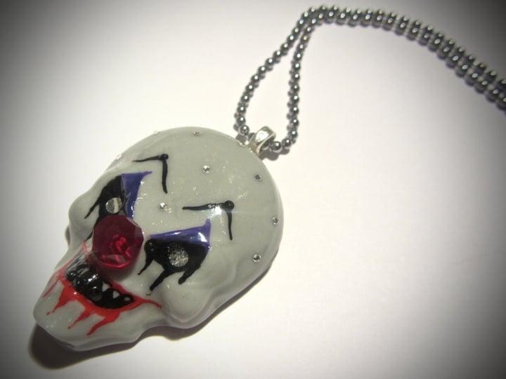 Grey Evil Clown Pendant