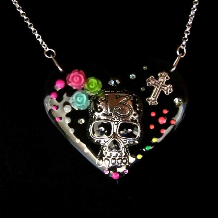 Black & Neon Day of the Dead Heart Necklace