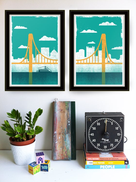 Image of Pittsburgh City of Bridges Diptych Art Print Set