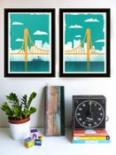 Image of Large Pittsburgh City of Bridges Silkscreen Diptych Art Print Set