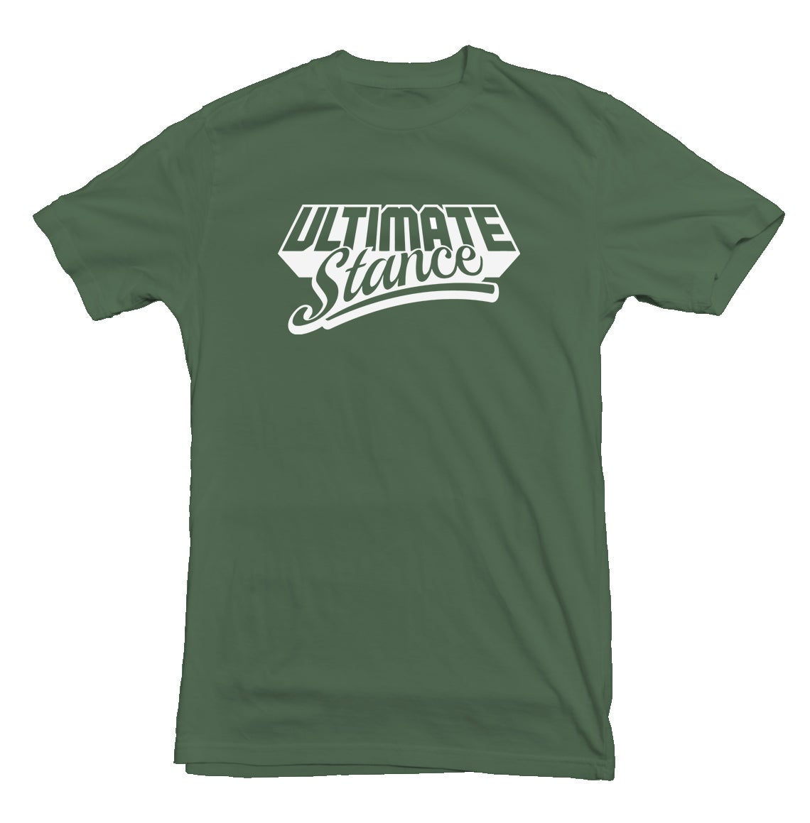 Image of Men's Ultimate Stance T-Shirt - Military Green with White Logo - End Of Line Product