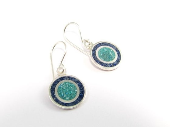Image of Sterling Silver Earrings - Circles - Blue and Turquoise