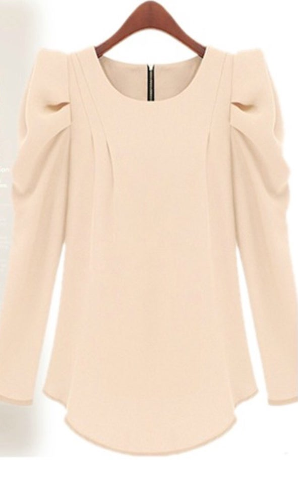 Image of O Neck Puff Sleeve Shirt