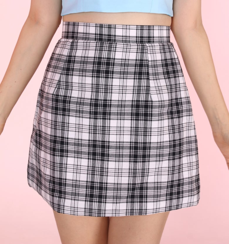 Image of Made To Order - Black & White Tartan Mini skirt by GFD <3