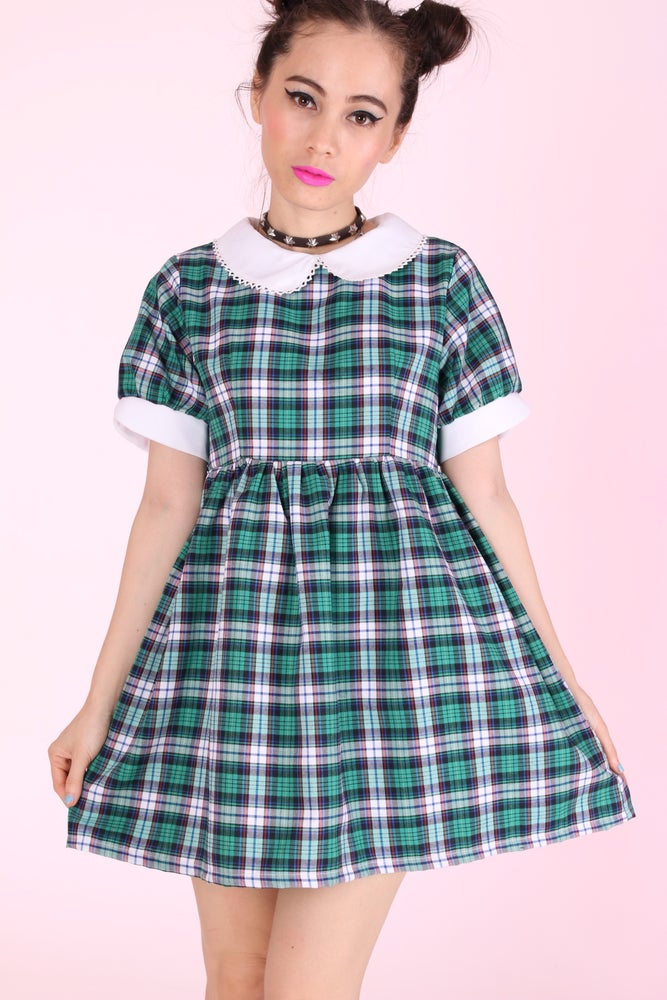 Image of  Annabelle Dolly Dress in Green Tartan