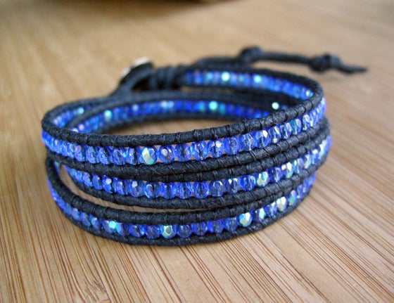 Image of Triple Beaded wax Cotton Wrap Bracelet