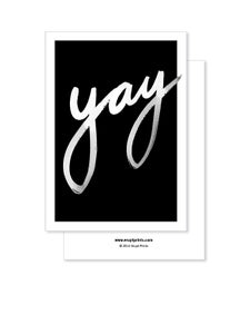 Image of Greeting Card - Yay - Black
