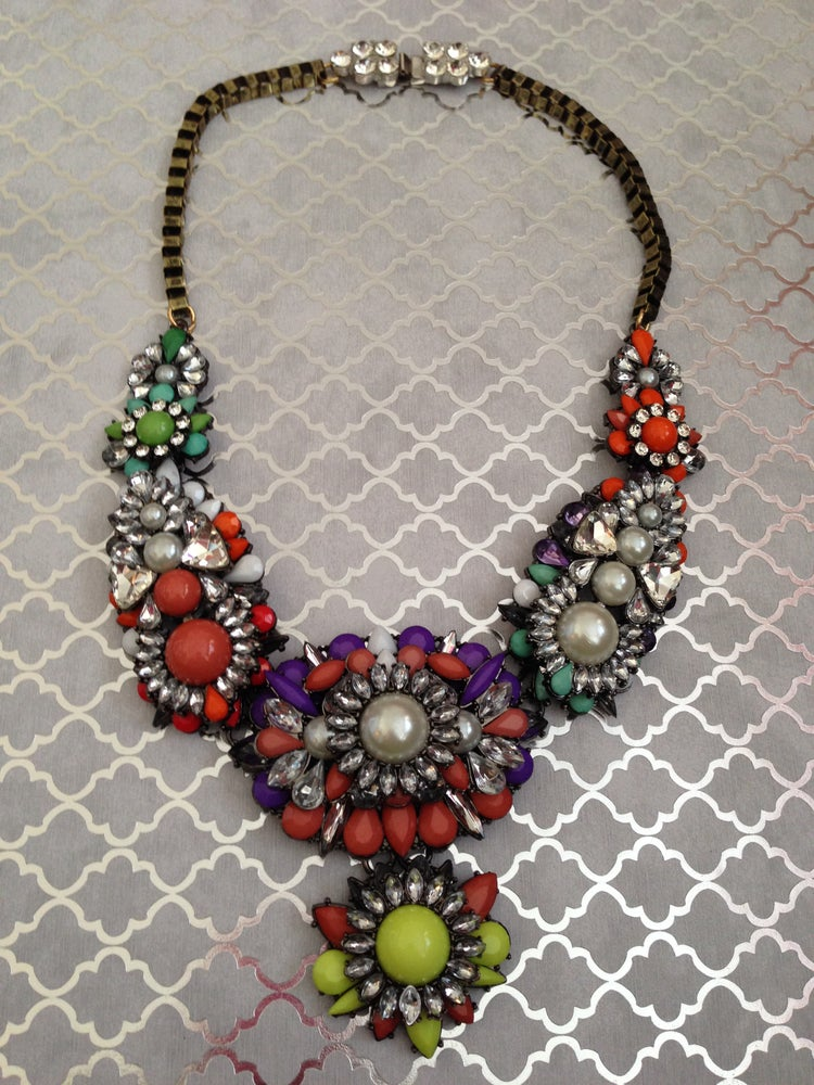 Image of Multi-Color Statement + Pearl Necklace