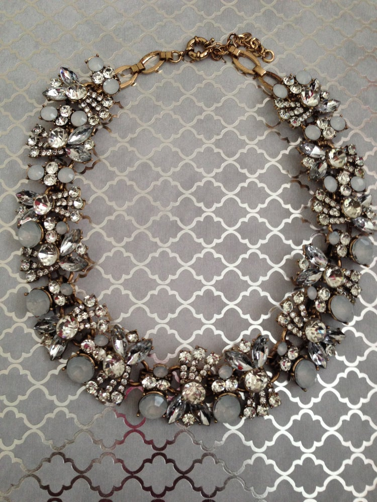 Image of Smoked Gray + Rhinestone Full Statement Necklace