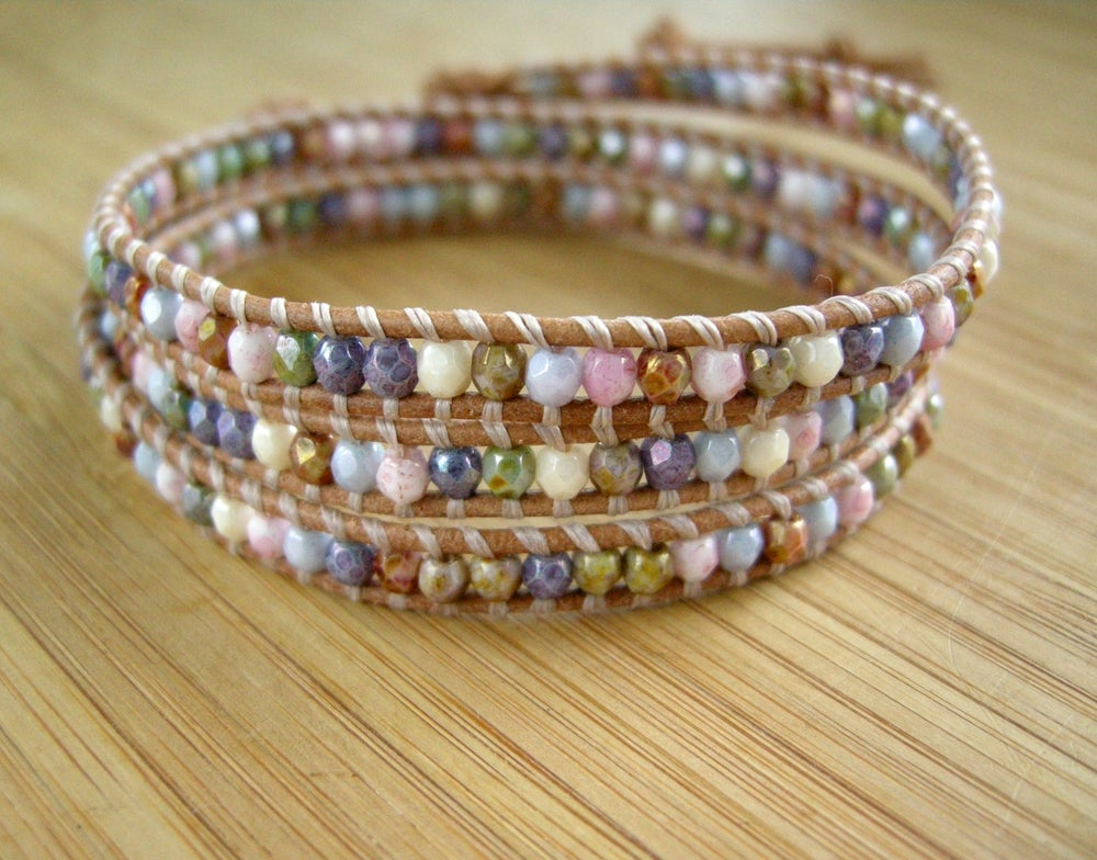 Image of Triple Multi Color Leather Wrap Bracelet