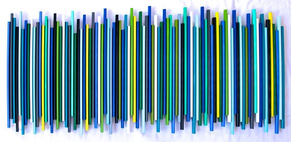 Image of 'STICKS IN COOL' | Colorful Painted Wood Wall Stick Sculpture | Original Artwork | Large Wall Art