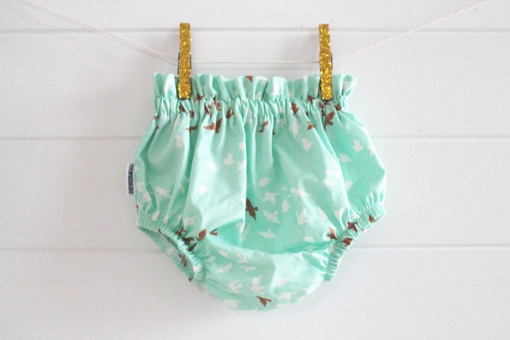 Image of Mint Gold & White Birdy Bloomers