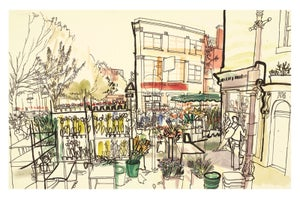 Image of Columbia Road Flower Market - greetings card