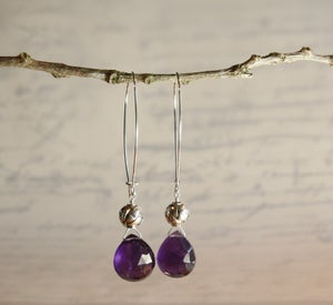 Image of Amethyst Heart Earrings