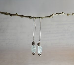 Image of Aquamarine Square Pillow Earrings