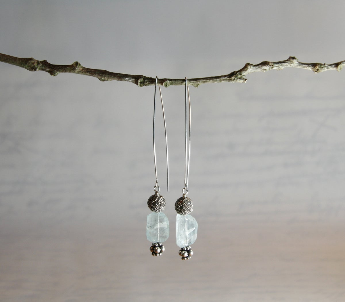 Aquamarine Square Pillow Earrings