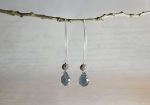 Image of Moss Aquamarine Heart Earrings